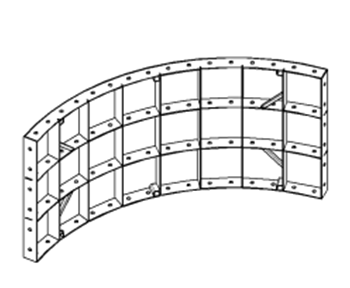 Radius shield small-panel formwork